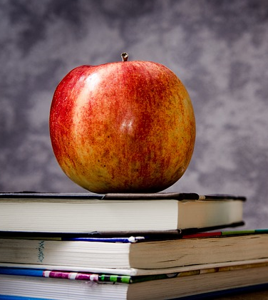 Picture of an apple sitting on books