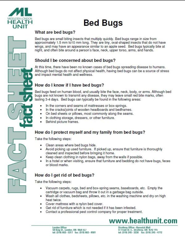 First Page Of The Bed Bugs Fact Sheet