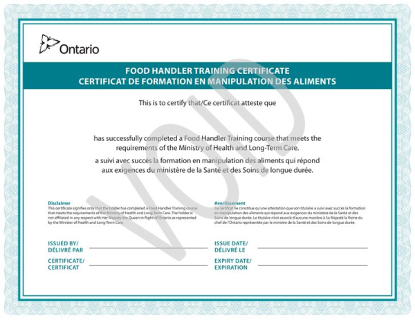 food handler certificates — middle-london health unit