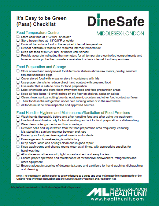 A picture of the it's easy to be green (pass) checklist