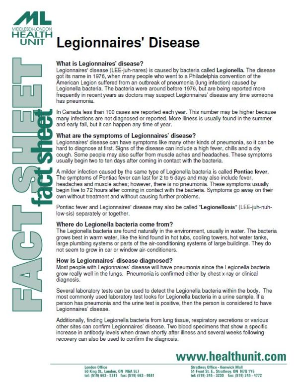 a picture of the first page of the legionnaires disease fact sheet