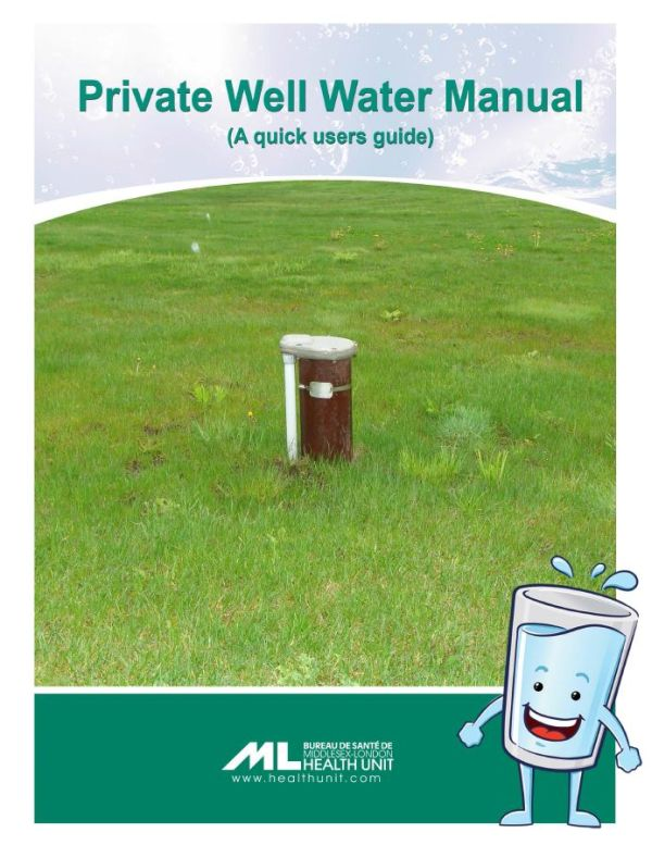 A picture of the front cover of the Private Well Water Manual